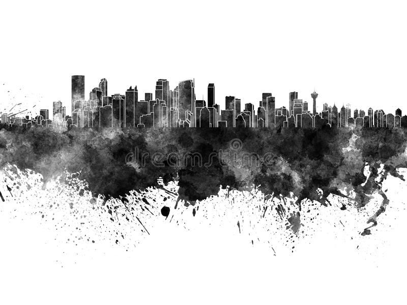 Calgary skyline in black watercolor. On white background royalty free illustration