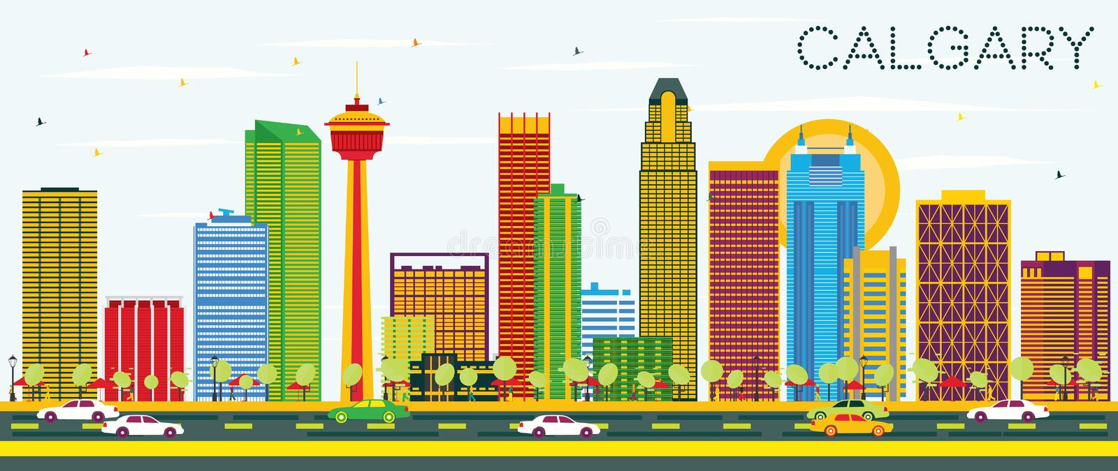 Calgary Skyline with Color Buildings and Blue Sky. Vector Illustration. Business Travel and Tourism Concept with Modern Architecture. Image for Presentation stock illustration