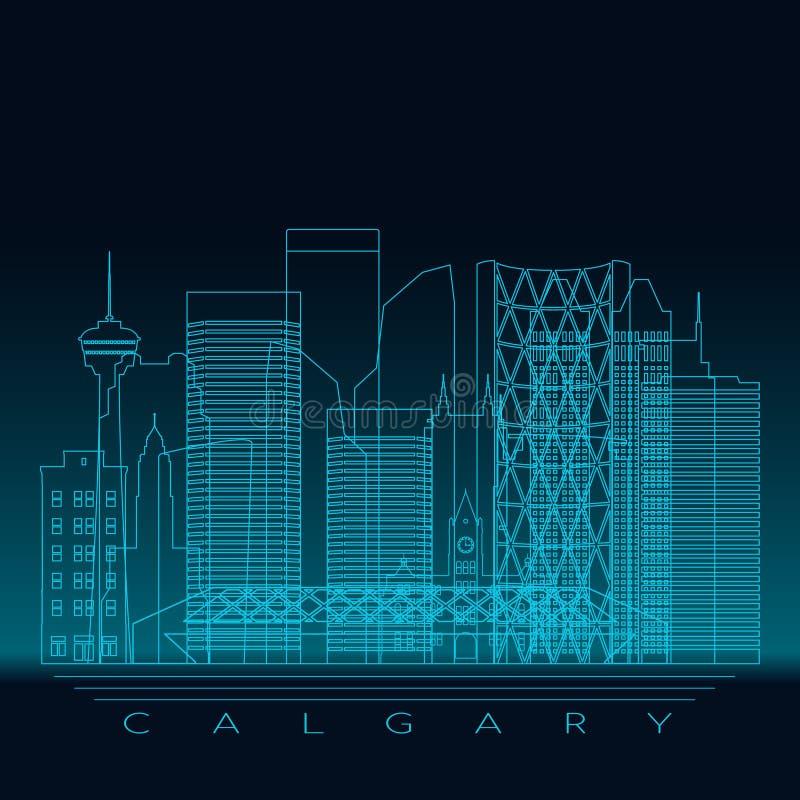 Calgary skyline, detailed silhouette. Modern vector illustration, blue linear style vector illustration