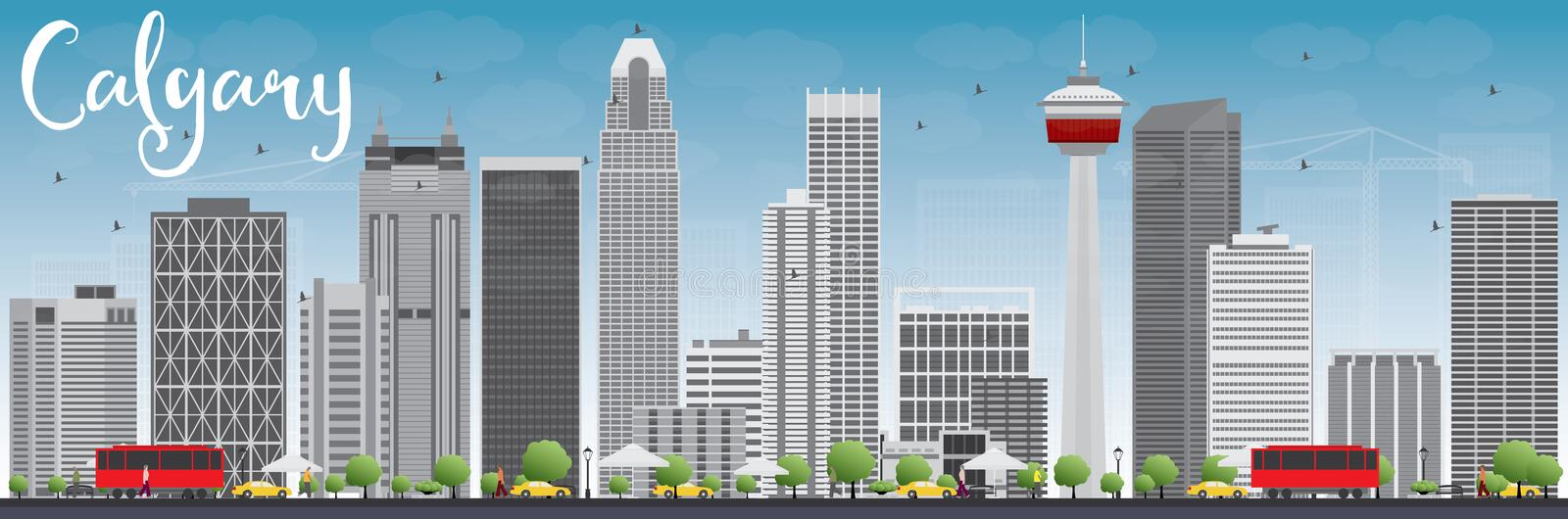 Calgary Skyline with Gray Buildings and Blue Sky. Vector Illustration. Business travel and tourism concept with modern buildings. Image for presentation vector illustration