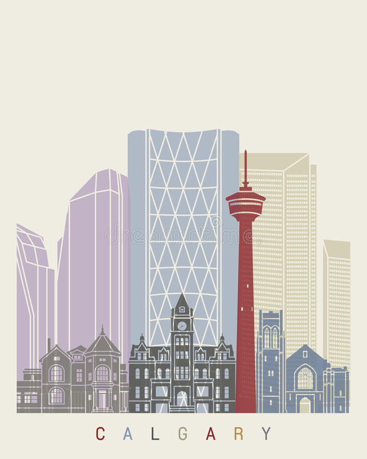 Calgary skyline poster. In editable vector file stock illustration