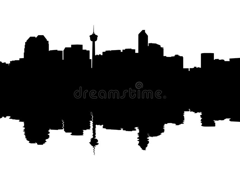 Calgary Skyline reflected. With ripples silhouette illustration vector illustration