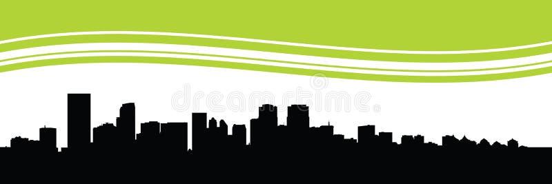 Calgary Skyline. Skyline silhouette of the city of Calgary, Alberta, Canada stock illustration