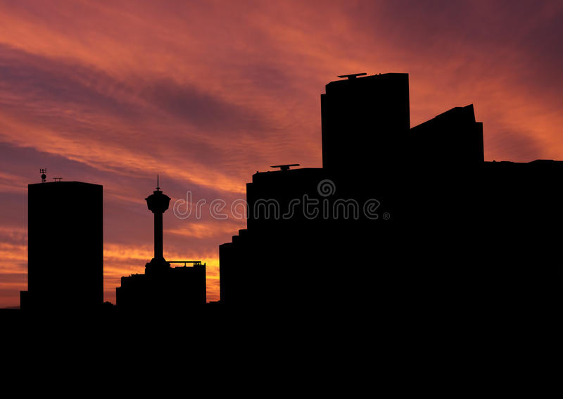 Download Calgary skyline at sunset stock illustration. Image of dawn - 9887622