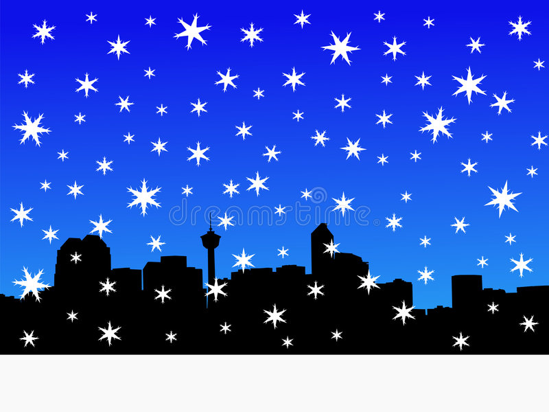 Calgary Skyline in winter. With falling snow stock illustration