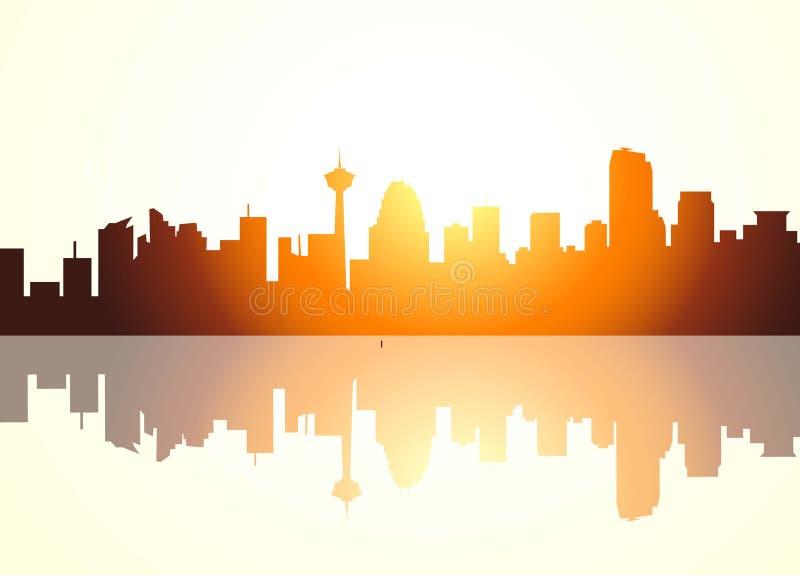 Calgary Sunrise. Is a vector illustration stock illustration