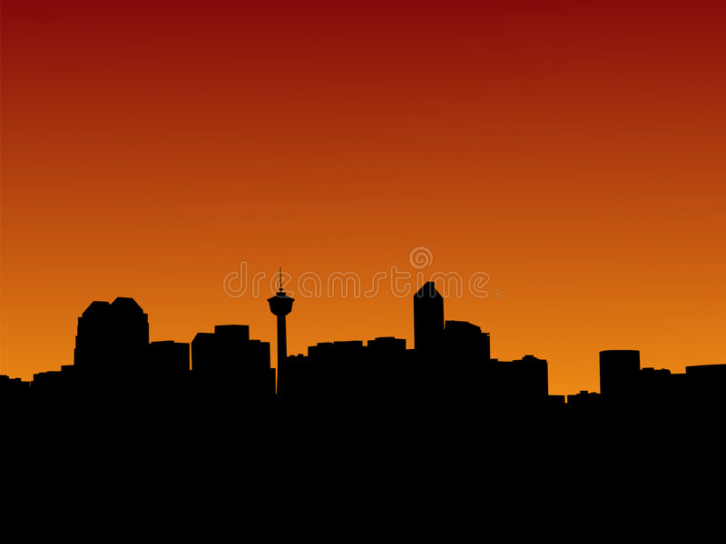 Calgary at sunset. Calgary skyline at sunset with colourful sky illustration stock illustration