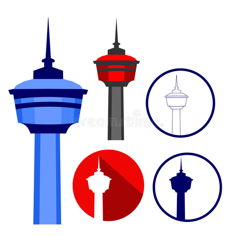 The Calgary Tower on Different Illustration Styles. Calgary Tower Icons royalty free illustration