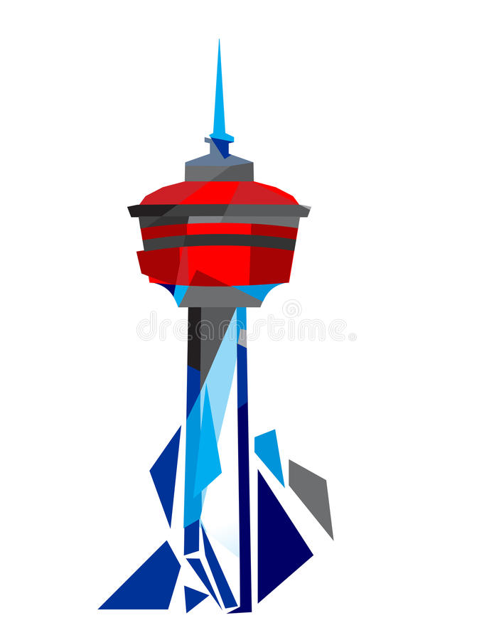 Calgary Tower Illustration. Calgary Tower Geometric Illustration on white background. The free standing observation tower in Calgary Downtown stock illustration
