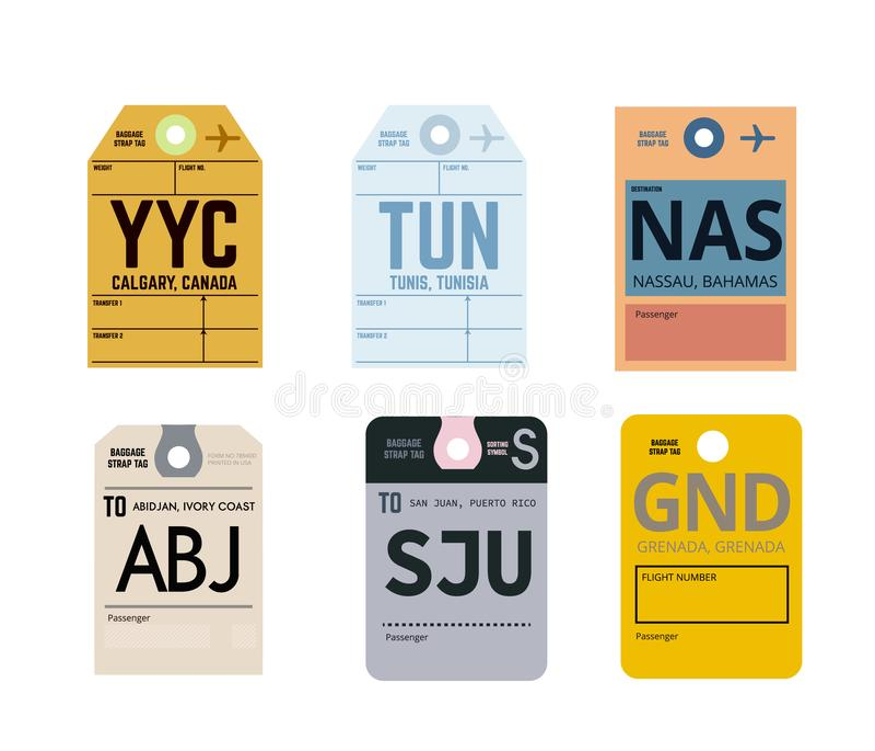 Calgary tunis nassau abidjan san juan grenada. Airline baggage tags flat illustration royalty free illustration