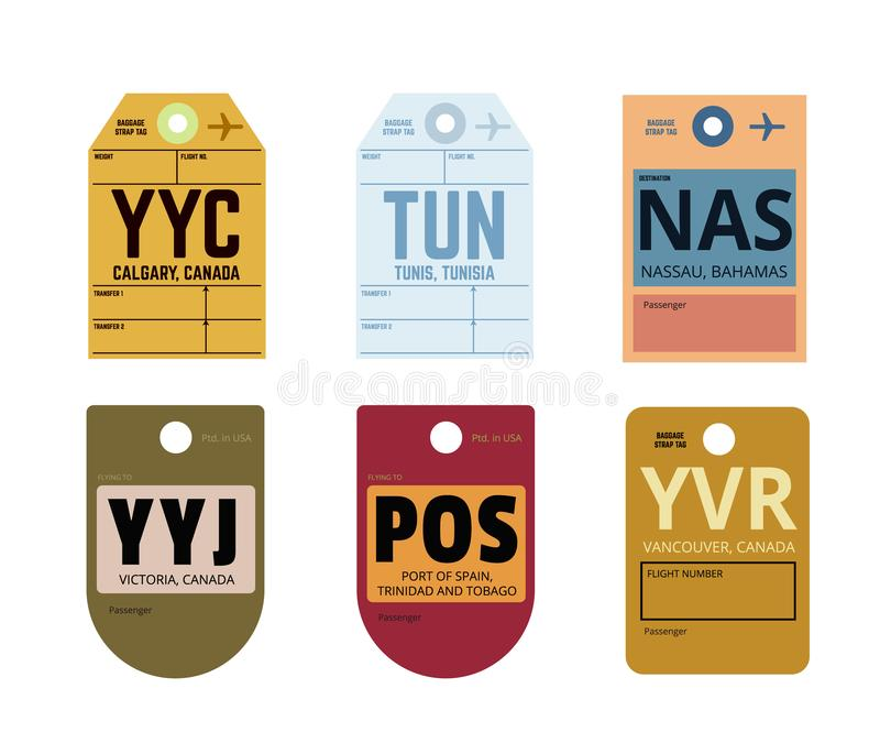Calgary tunis nassau victoria port of spain vancouver. Airline tag royalty free illustration