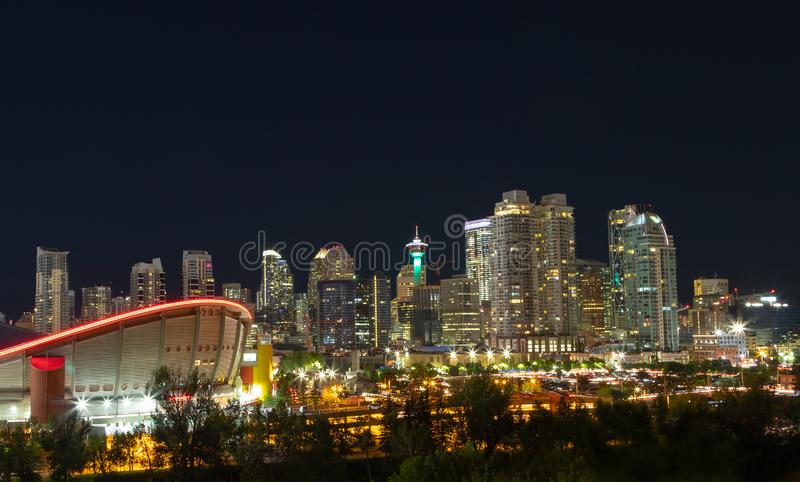Calgary Urban Skyline at Night in the Downtown Core Area stock photography
