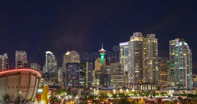 Calgary Urban Skyline at Night in the Downtown Core Area royalty free stock photos