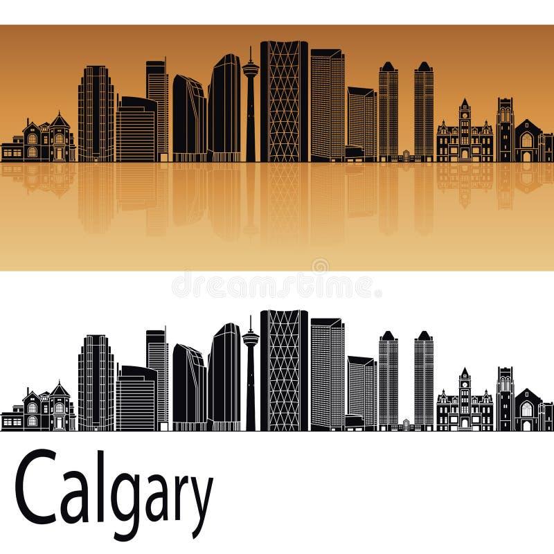 Calgary V2 skyline. In orange background in editable vector file royalty free illustration
