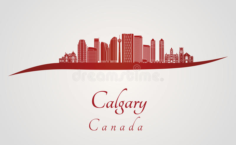 Calgary V2 skyline in red. And gray background in editable vector file royalty free illustration