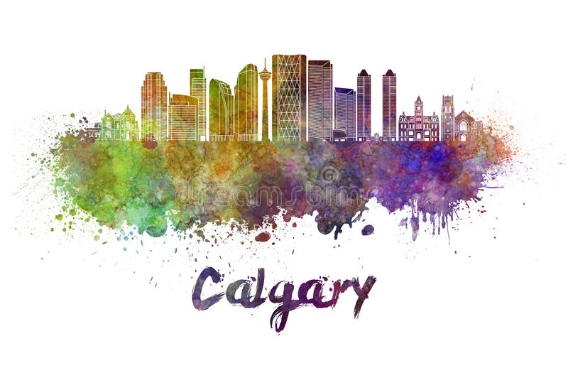 Calgary V2 skyline in watercolor. Calgary skyline in watercolor splatters with clipping path royalty free illustration