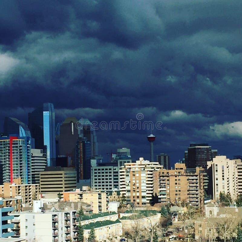 Calgary w centrum burza obraz stock