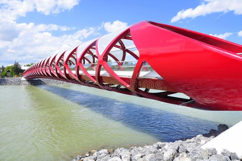 Calgarys Friedensbrücke stockbilder