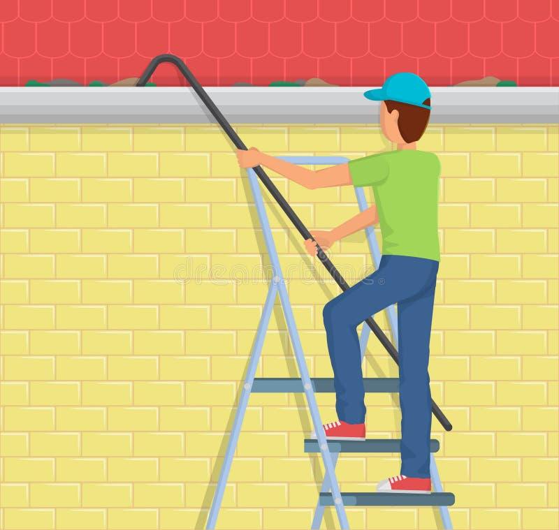 Calha da chuva da limpeza do homem em uma escada ilustração do vetor