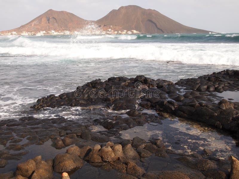 Calhau村庄在圣维森特,其中一个佛得角海岛 免版税库存图片