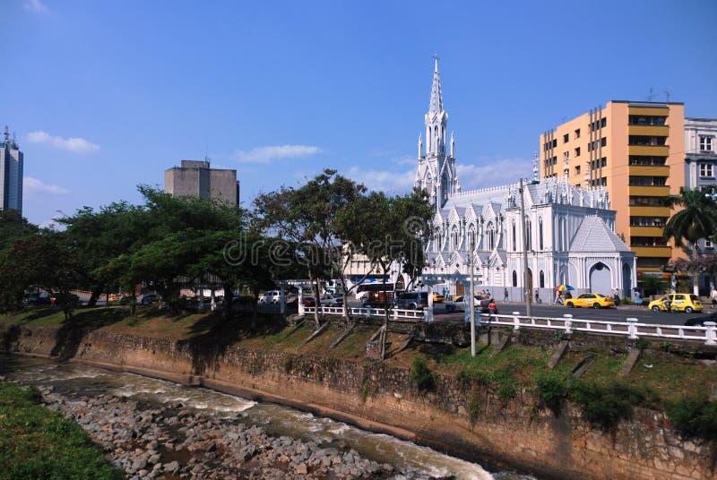 cali教会哥伦比亚街市ermita la 免版税库存图片