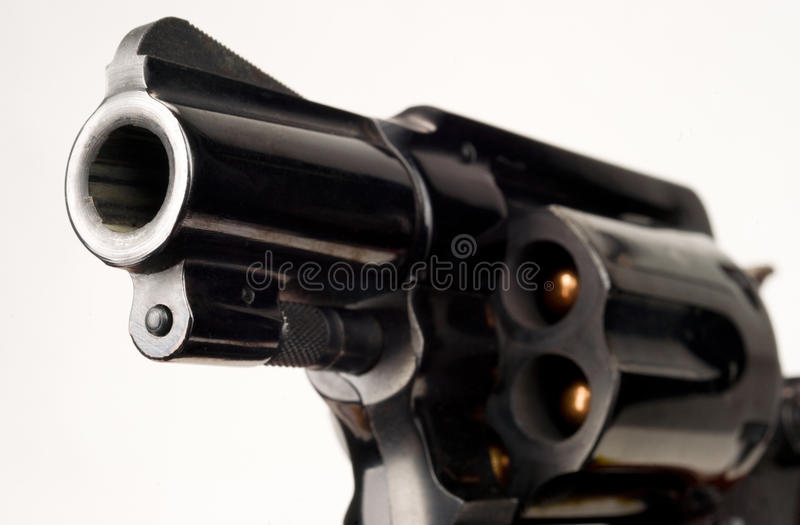 38 Caliber Revolver Pistol Loaded Cylinder Gun Barrel Pointed royalty free stock photography