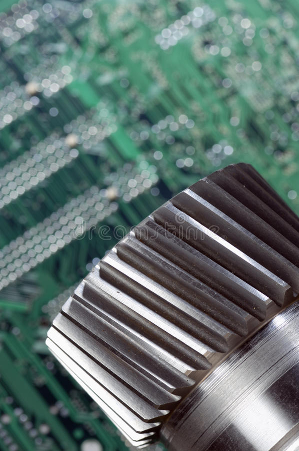 Calibração do eixo e do computador da engrenagem foto de stock