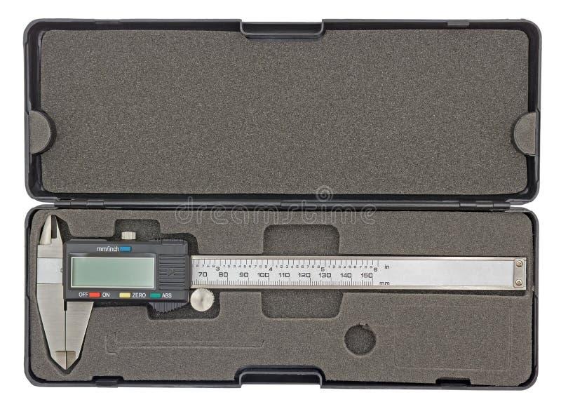 Calibrador de Digitaces en la caja negra aislada en blanco fotos de archivo