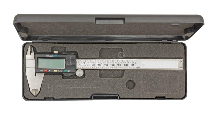 Calibrador de Digitaces en la caja negra aislada en blanco fotos de archivo libres de regalías