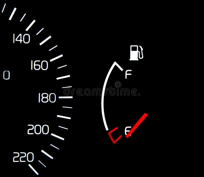 Calibrador del depósito de gasolina vacío foto de archivo