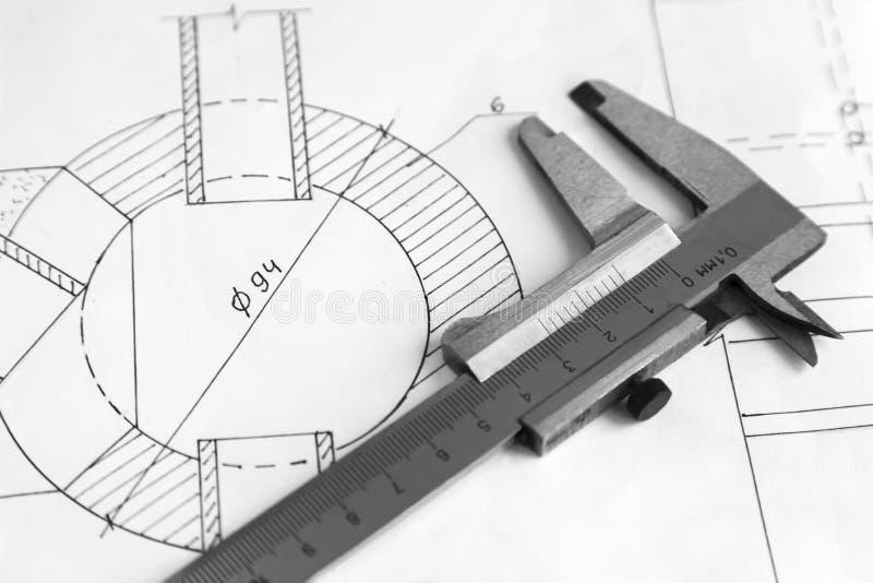 Calibrador del instrumento de medida foto de archivo
