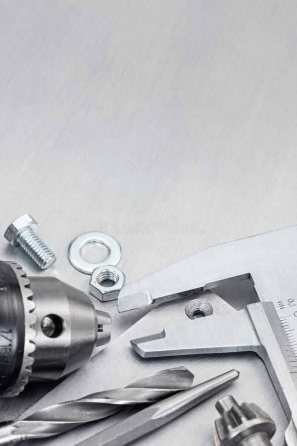 Calibrador del taladro y a vernier para la reparación de la casa fotos de archivo libres de regalías