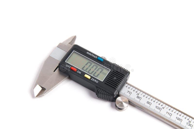 Calibrador digital electrónico aislado en el fondo blanco imagenes de archivo