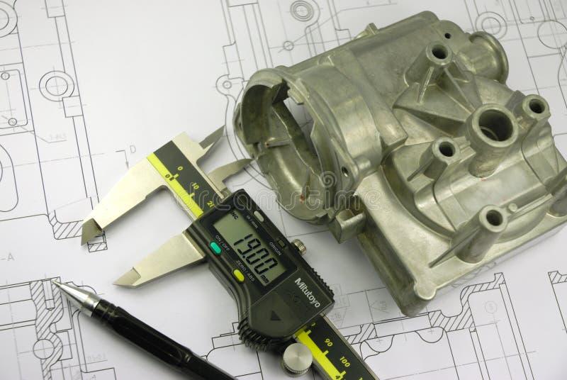 Calibrador y parte mecánica imagenes de archivo