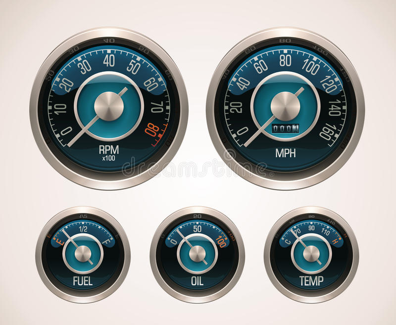 Calibradores de coche retros del vector stock de ilustración