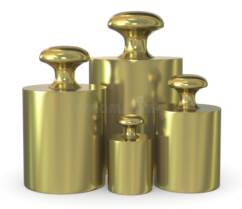 Calibration weights. Close up of a set of calibration weights ( 3d render royalty free illustration