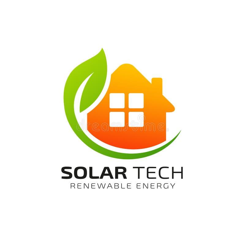 Calibre à énergie solaire de conception de logo de Sun conception de logo d'énergie d'eco illustration libre de droits