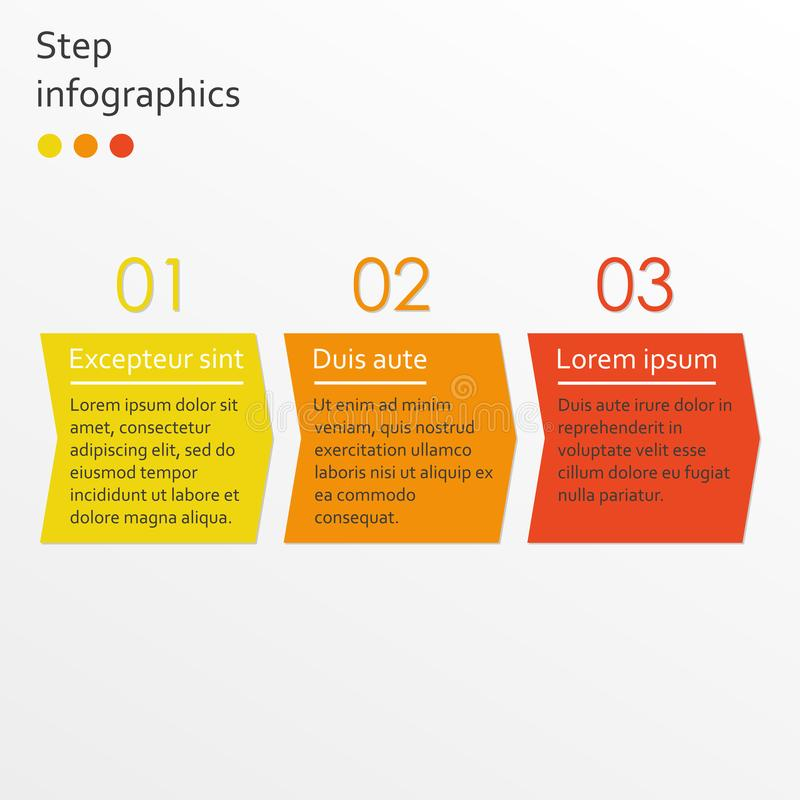 Calibre étape-par-étape d'Infographics avec 3 flèches Concept d'Infographic d'affaires Illustration de vecteur illustration stock
