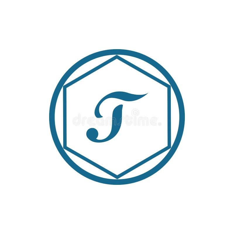 Calibre abstrait d'entreprise de conception de logo de vecteur d'unité d'affaires de la lettre T illustration stock
