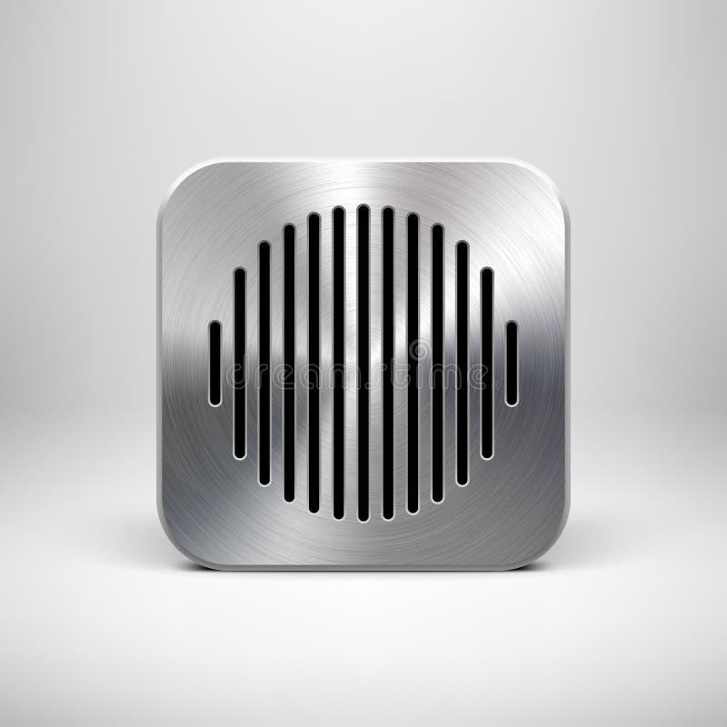 Calibre abstrait d'icône d'APP avec la texture en métal illustration de vecteur