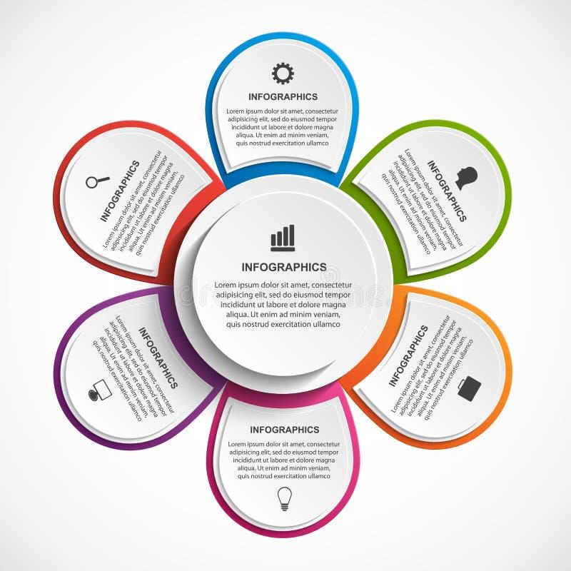 Calibre abstrait d'infographics d'options avec la fleur Infographics pour la bannière de présentations ou d'information d'affaire illustration libre de droits