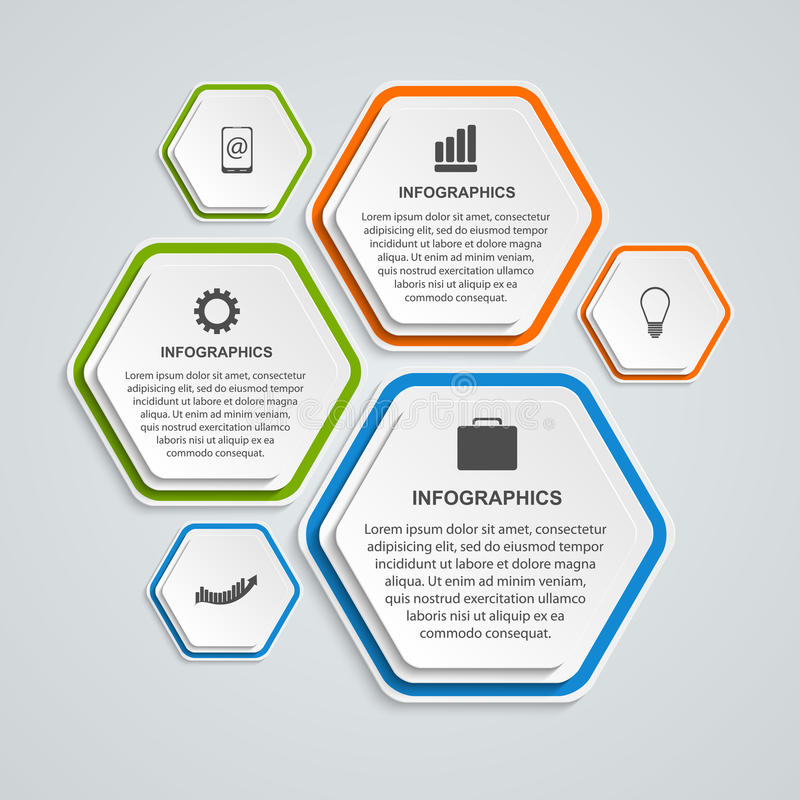 Calibre abstrait d'infographics d'options d'affaires de l'hexagone 3D illustration stock