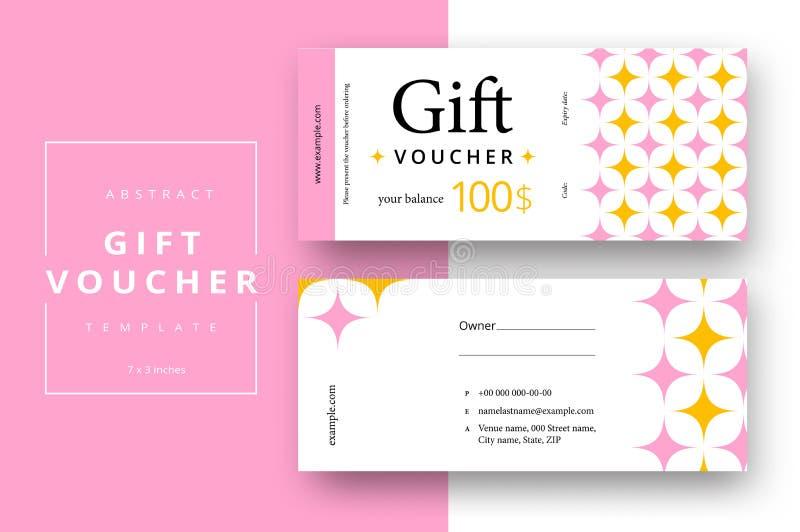 Calibre abstrait de carte de bon de cadeau Bon de remise ou disposition moderne de certificat avec le modèle géométrique de forme illustration stock
