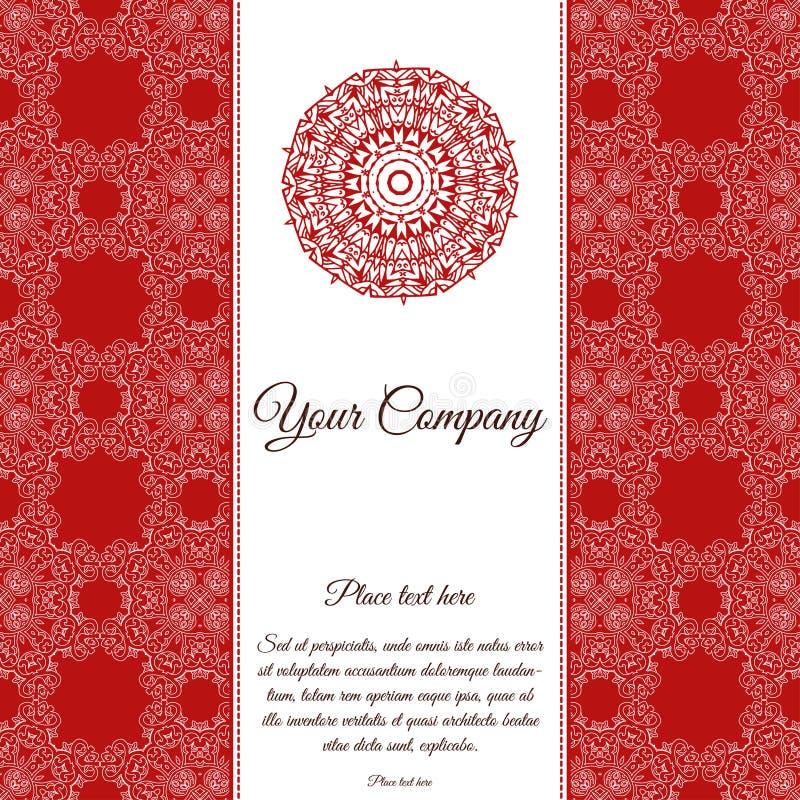 Calibre abstrait de carte Invitation de modèle de vue avec l'endroit pour le texte Ornement de dentelle, mandala L'arabe, élément illustration libre de droits