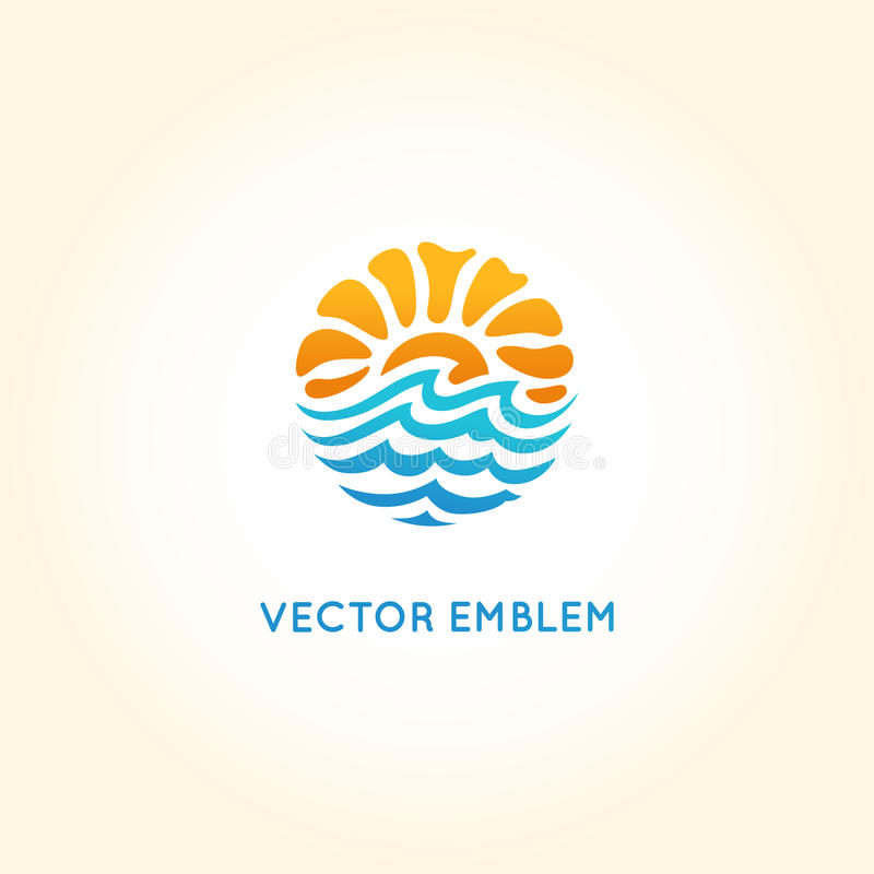 Calibre abstrait de conception de logo de vecteur - le soleil et mer illustration de vecteur