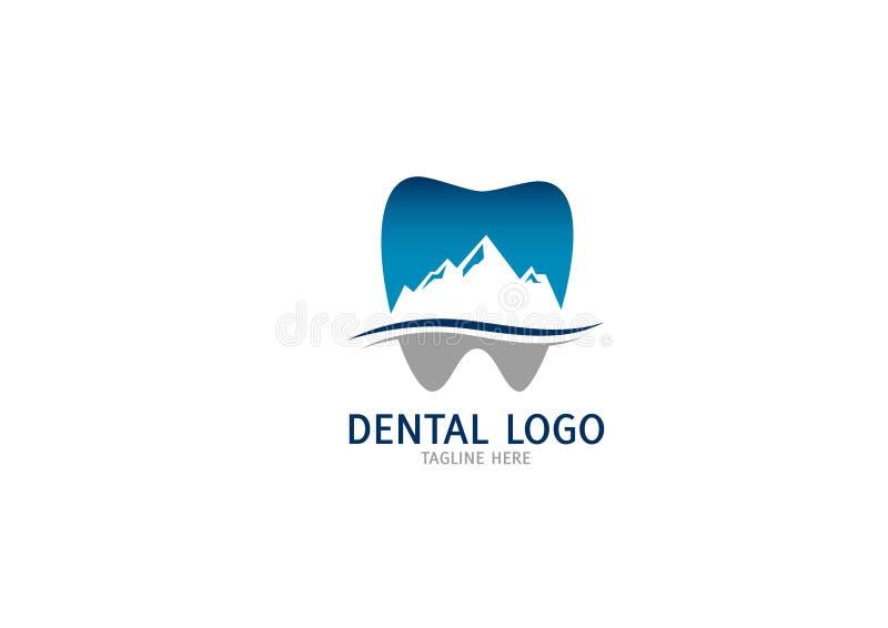 Calibre abstrait de conception de Logo Tooth de clinique dentaire de montagne de dent illustration stock