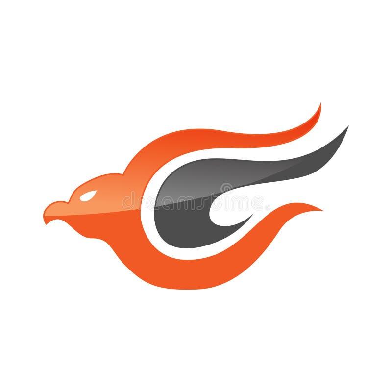 Calibre abstrait de logo d'oiseau d'aigle ou d'aigle d'imagination pour la société de sécurité ou de lignes aériennes illustration libre de droits