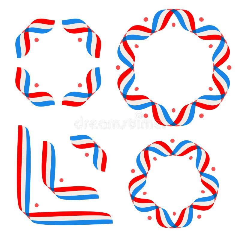 Calibre américain d'affiche de Jour de la Déclaration d'Indépendance, le 4 juillet fond Drapeaux de ruban et étoiles, cadre rond illustration stock