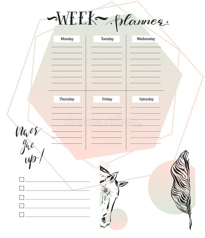 Calibre annuel de planificateur de calendrier mural pendant 2017 années Calibre d'impression de conception de vecteur La semaine  illustration libre de droits