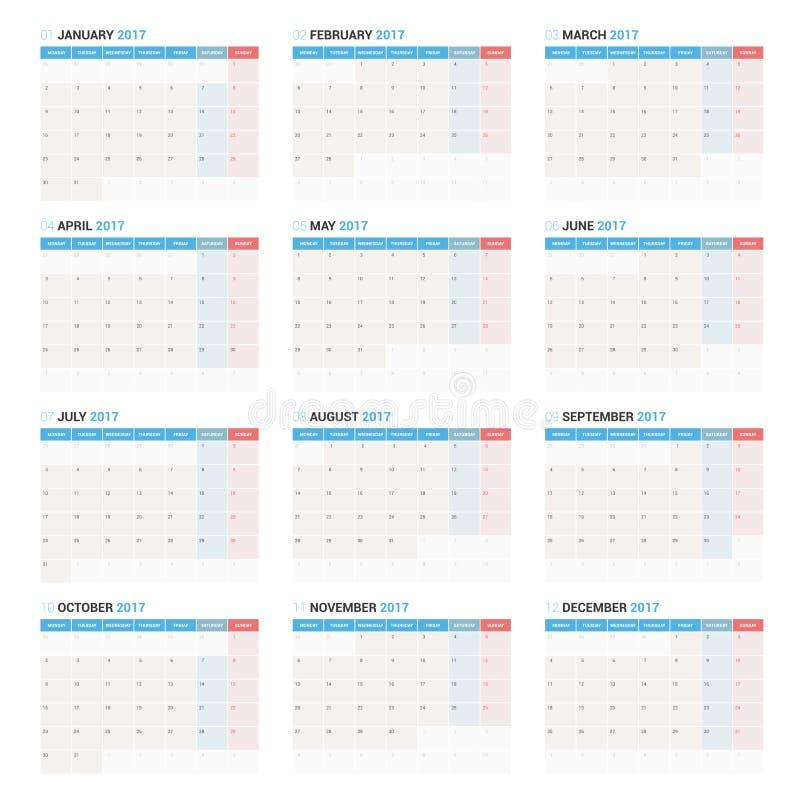 Calibre annuel de planificateur de calendrier mural pendant 2017 années La semaine commence lundi illustration libre de droits